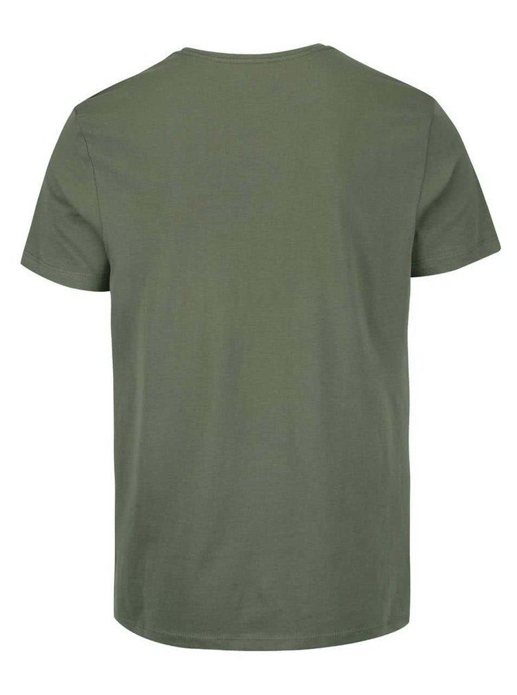 Kaki tričko s potlačou Blend