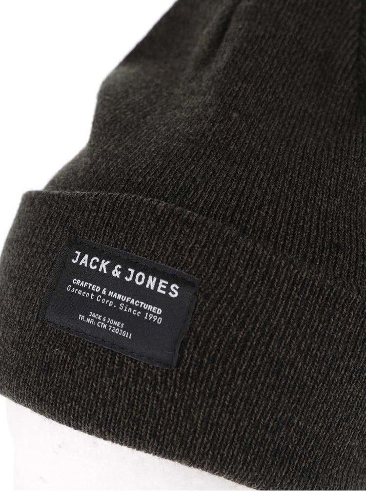 Tmavozelená melírovaná zimná čiapka Jack & Jones Basic DNA