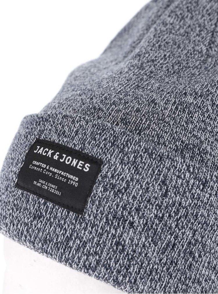 Sivomodrá melírovaná zimná čiapka Jack & Jones Basic DNA