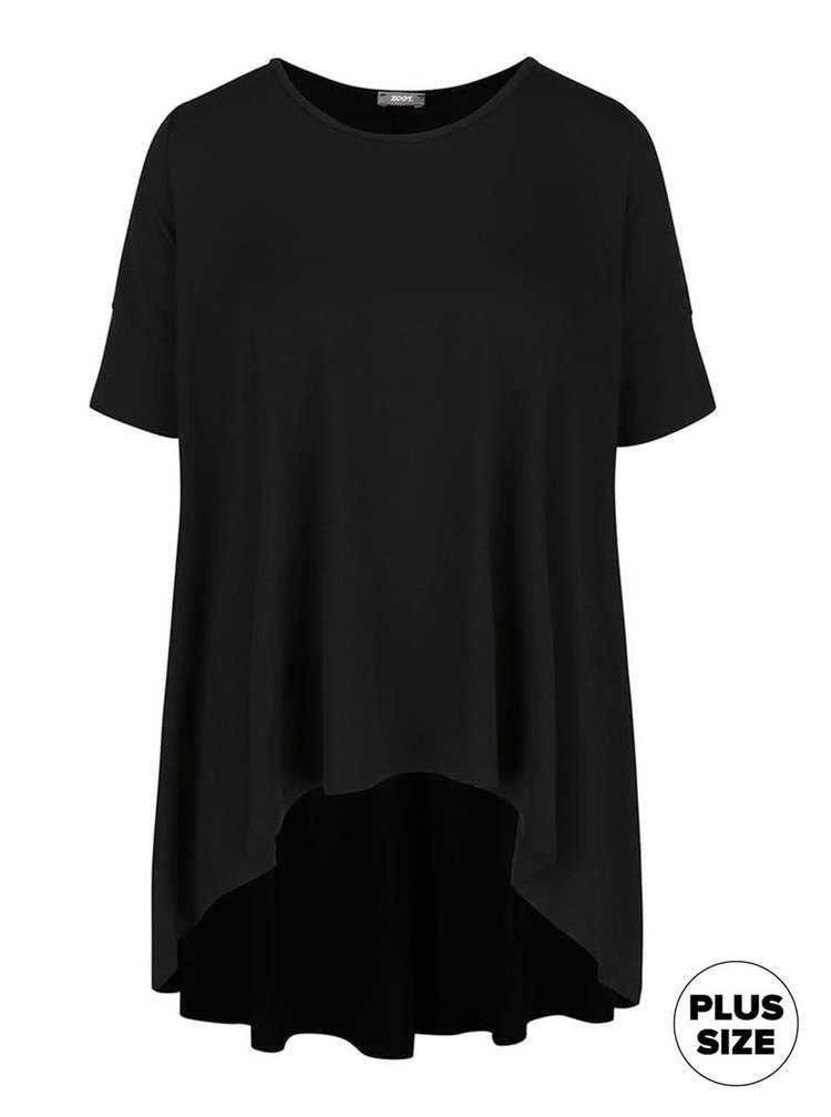 Černé dámské volnější tričko s kratší přední částí ZOOT simple
