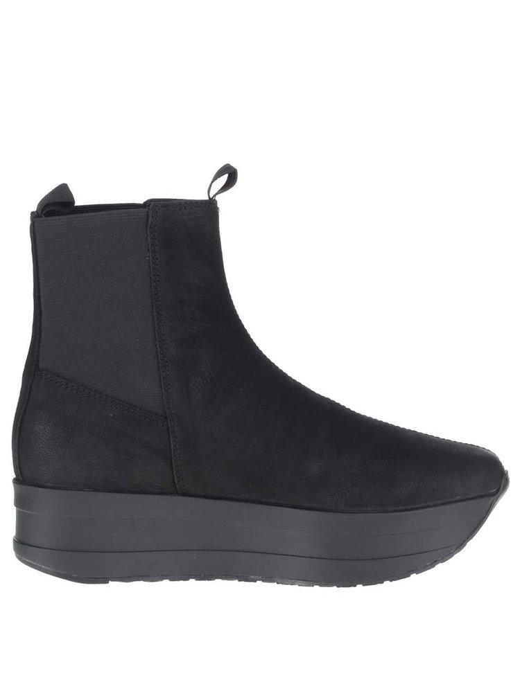 Černé dámské kožené chelsea boty na platformě Vagabond Casey