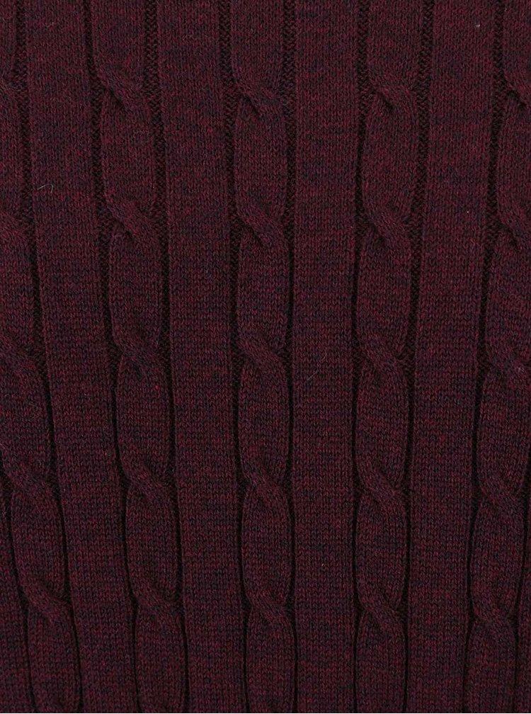 Vínový žíhaný lehký svetr Jack & Jones Carlson
