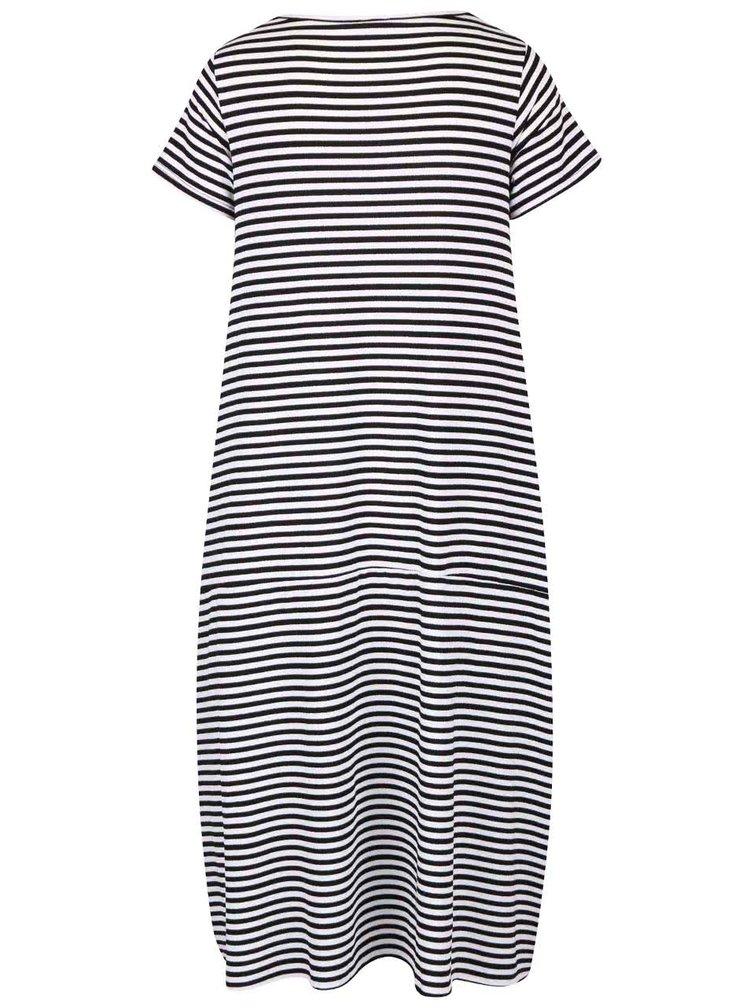 Bílo-černé volné pruhované šaty s krátkými rukávy ZOOT simple