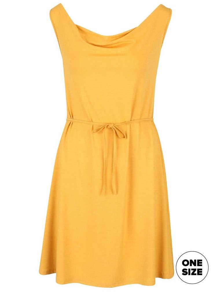 Horčicové šaty s preveseným výstrihom ZOOT simple