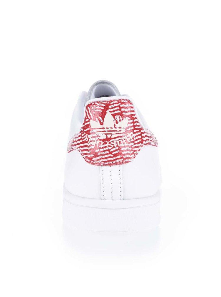 Biele dámske kožené tenisky s červeným detailom adidas Originals Stan Smith