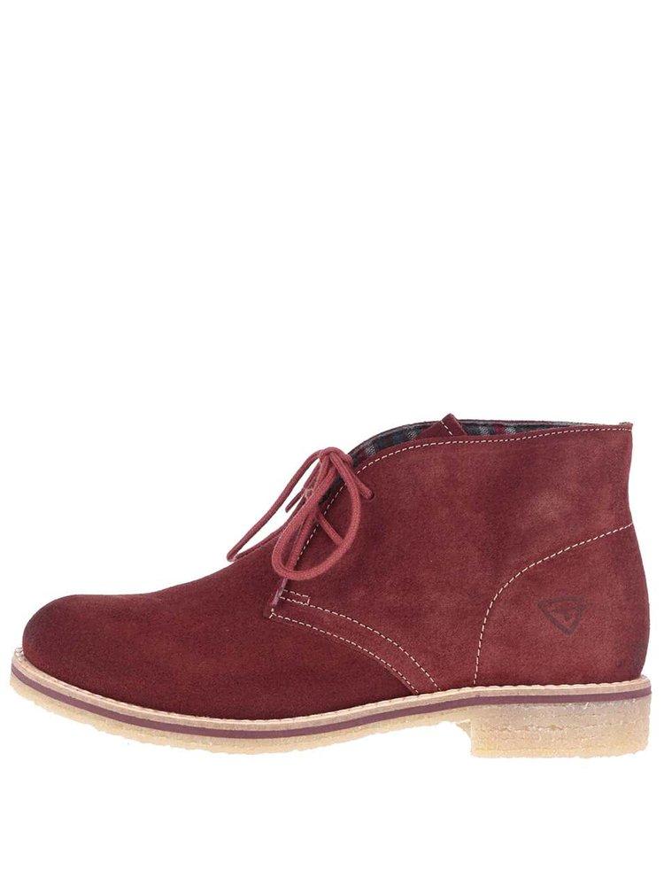 Hnědočervené semišové kotníkové boty Tamaris