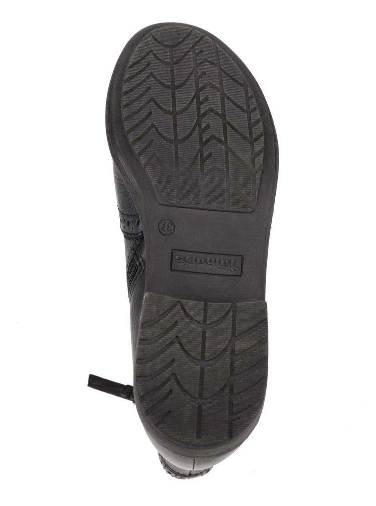 Vínovo-čierne kožené chelsea topánky Tamaris