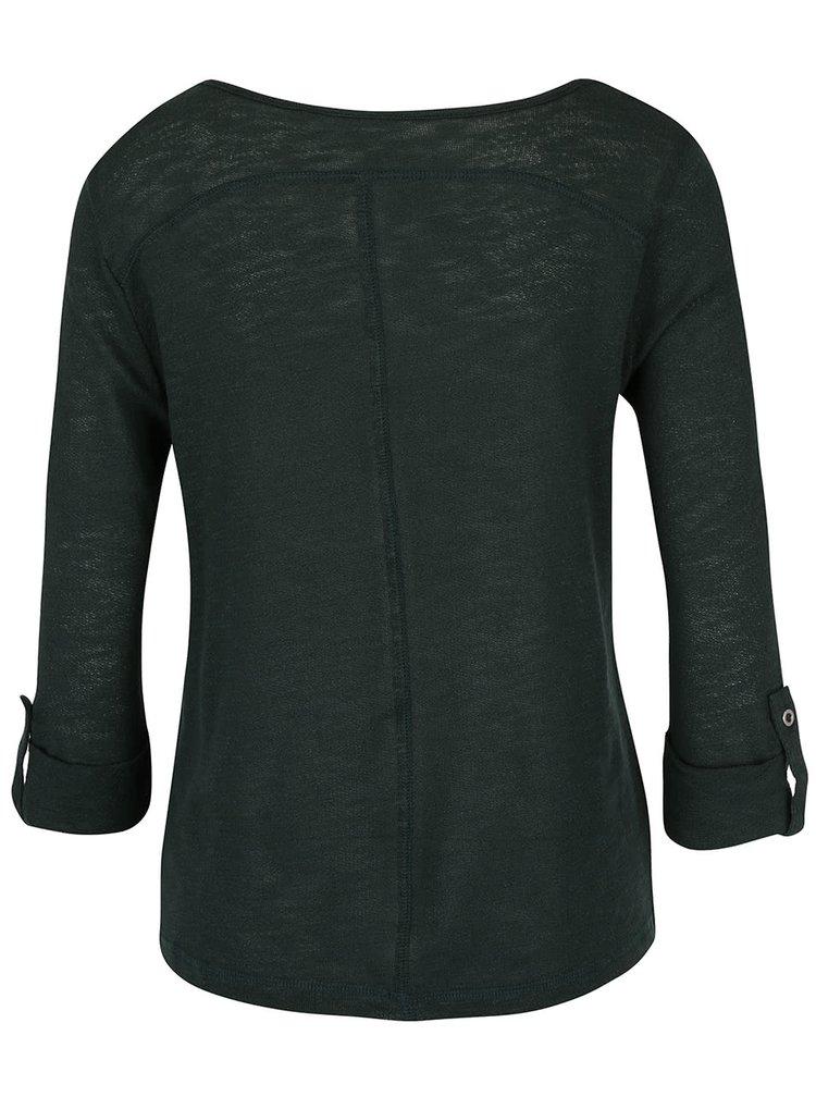 Tmavě zelené triko s 3/4 rukávem ONLY Jess