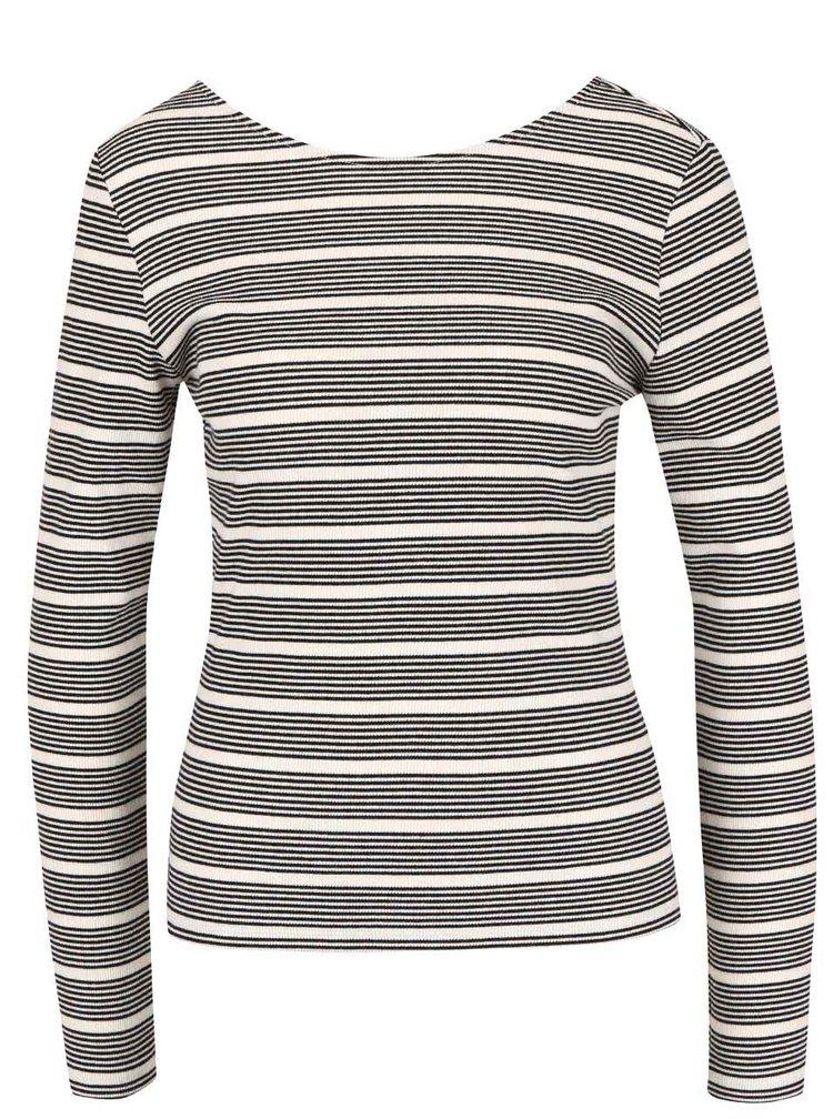 Krémové pruhované tričko s dlouhým rukávem ONLY Ellie
