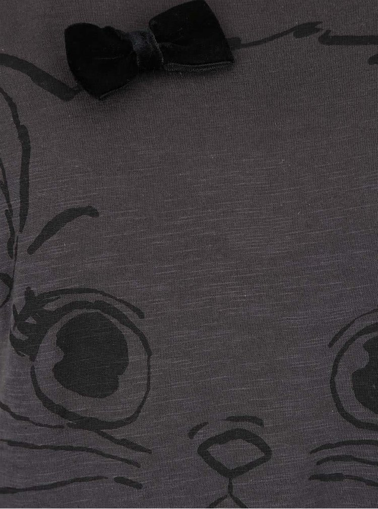 Tmavosivé tričko s mašľou a motívom psa ONLY Kaya