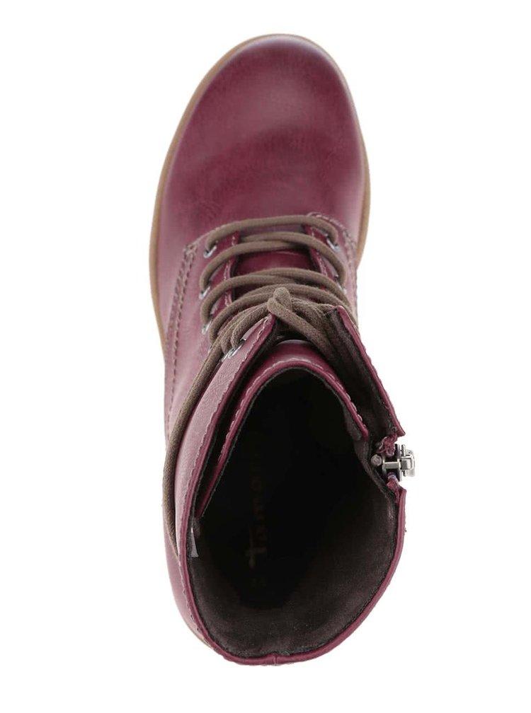 Vínové členkové topánky so zipsom Tamaris