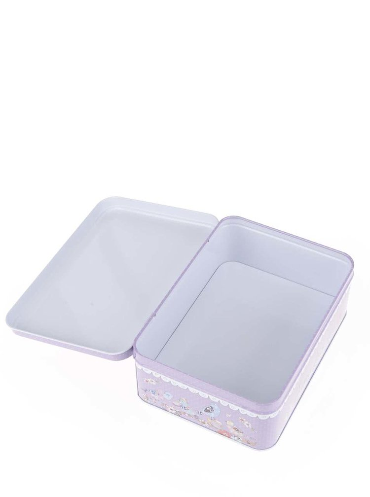 Bílo-fialová plechová dóza s puntíky Dakls