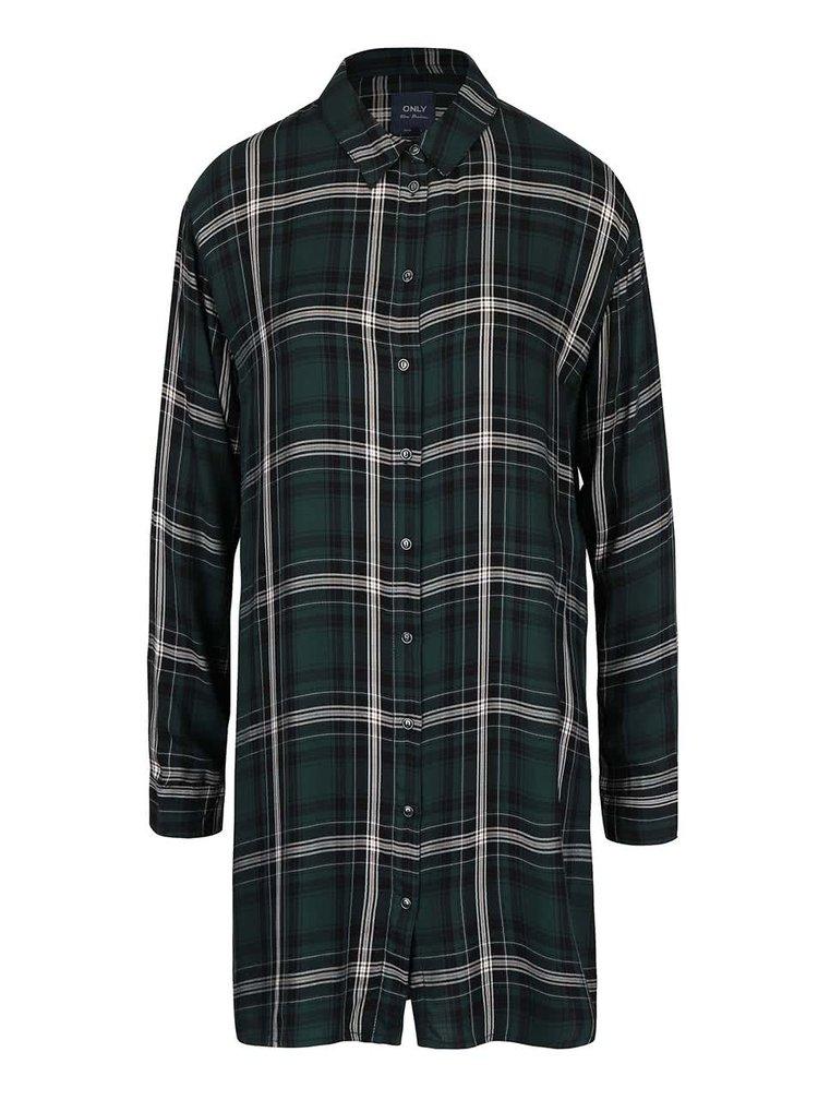 Tmavě zelená dlouhá kostkovaná košile ONLY Stone