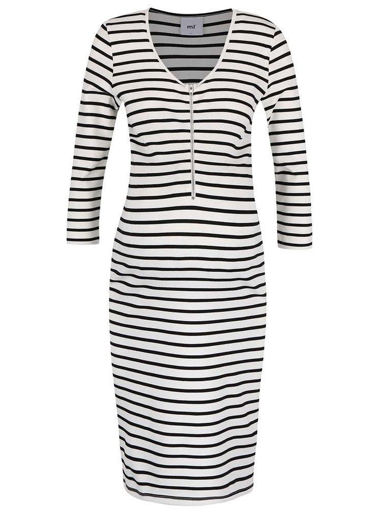 Čierno-krémové pruhované dojčiace šaty s 3/4 rukávmi Mama.licious Carla