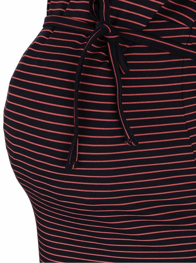 Tmavě modré pruhované těhotenské šaty s 3/4 rukávy Mama.licious Regina