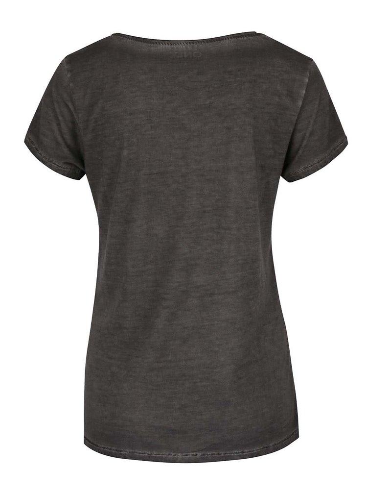 Tmavě šedé žíhané tričko s flitry ONLY Hero