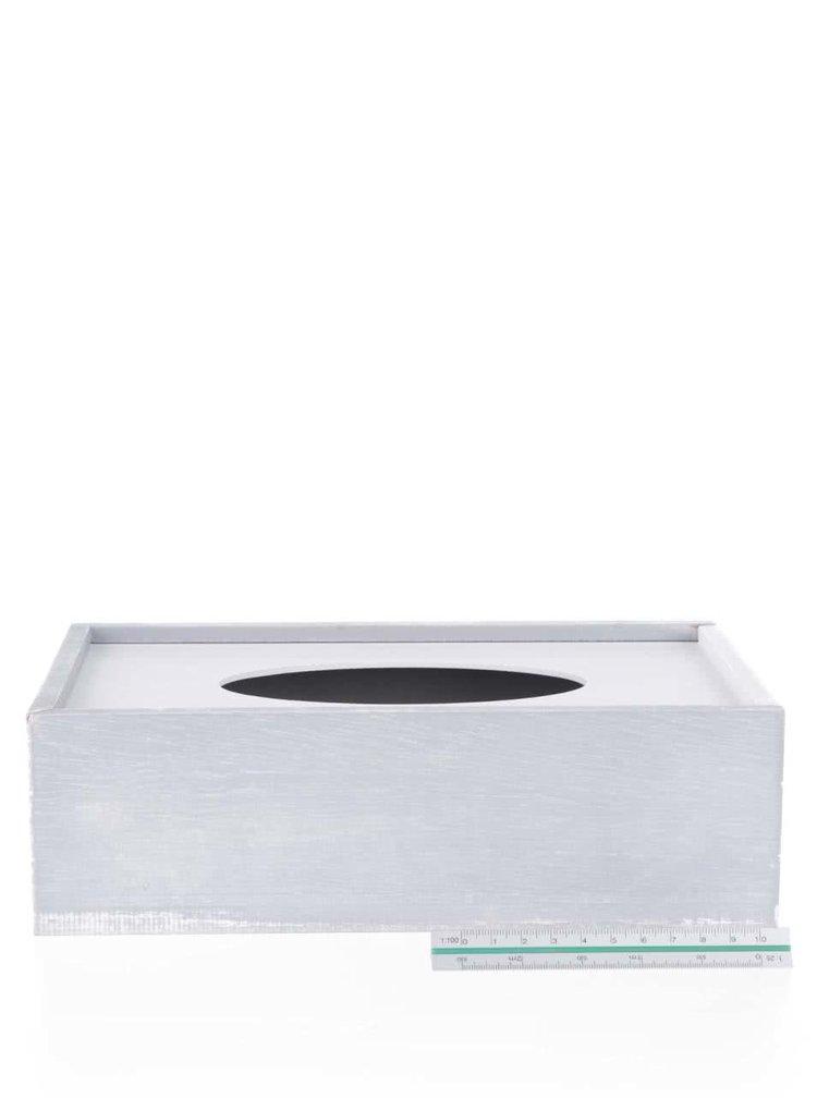 Krémovo-šedý dřevěný zásobník na papírové kapesníky Dakls