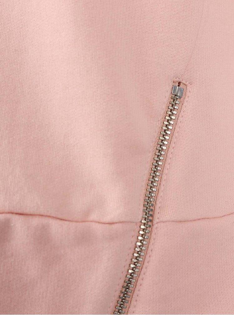 Pudrově růžová mikina s ozdobnými zipy Dorothy Perkins