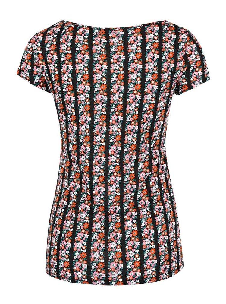 Černé tričko s potiskem barevných květů Dorothy Perkins