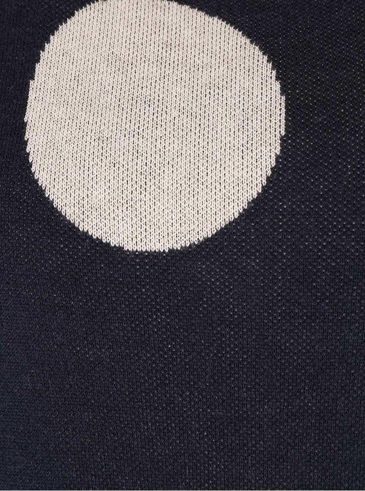 Tmavomodrý sveter s veľkými bodkami ONLY Harlow