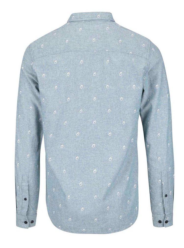 Sivomodrá vzorovaná slim košeľa Jack & Jones Foo