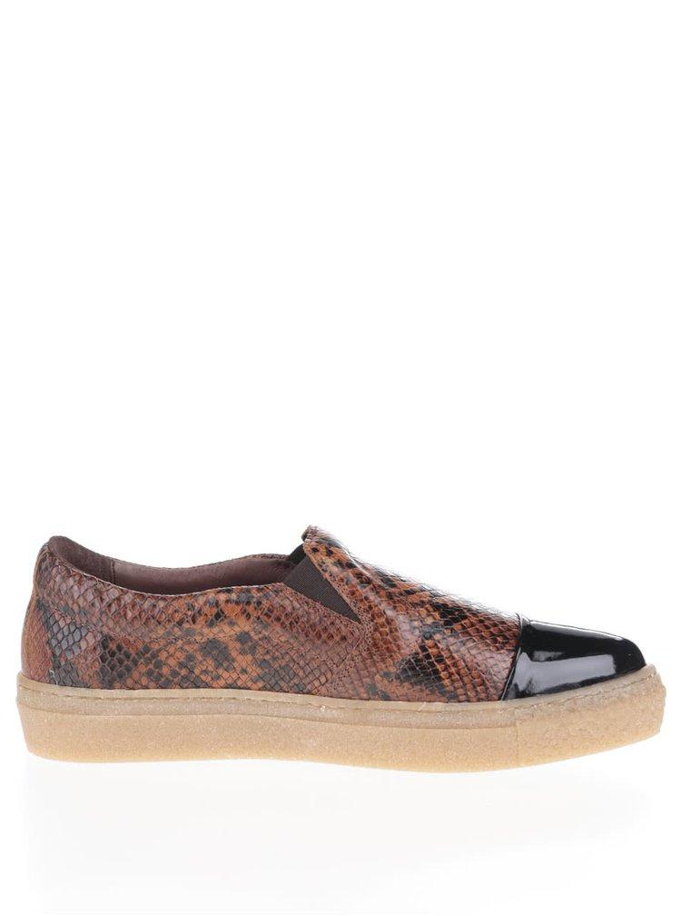 Hnědé kožené loafers s hadím vzorem OJJU Forty