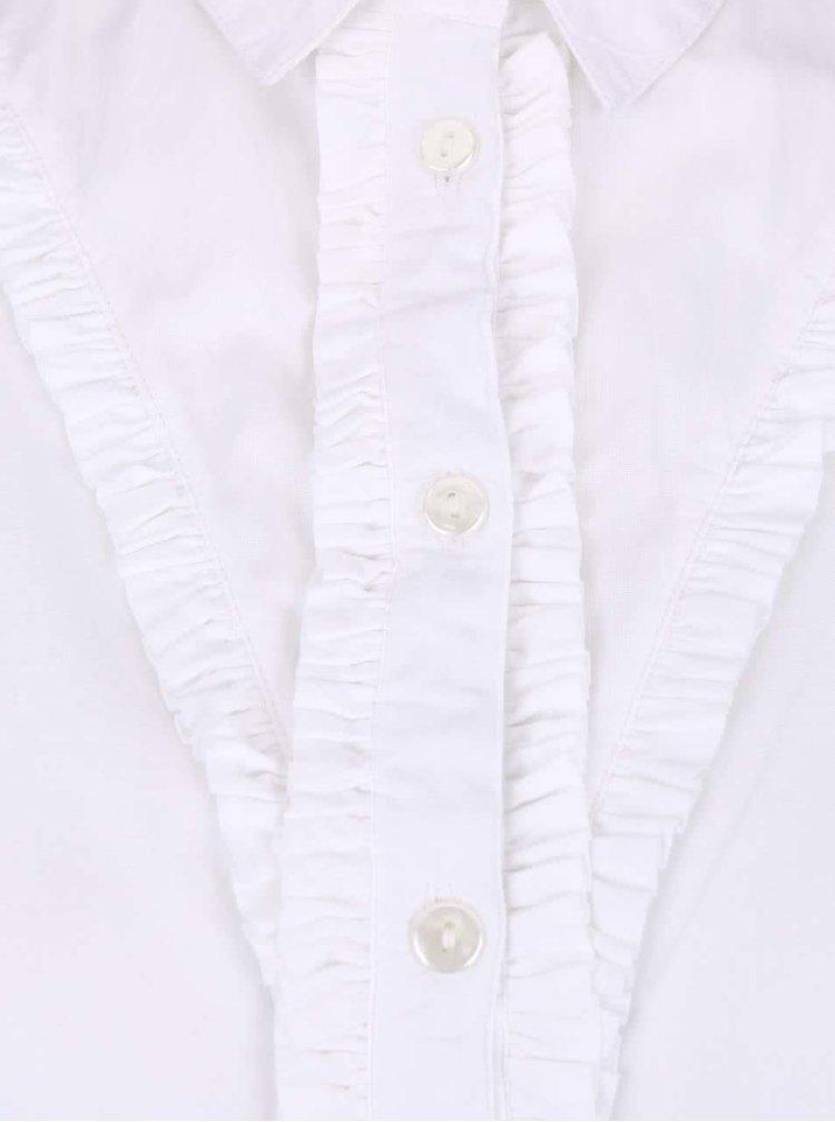 Cămașă albă cambrată cu volănașe Dorothy Perkins