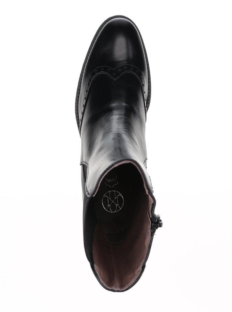 Čierne kožené vyššie členkové topánky OJJU