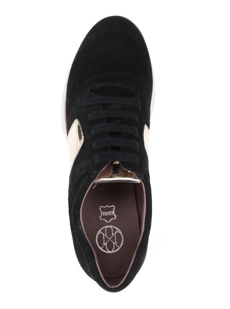 Černé semišové tenisky s detaily ve zlaté barvě OJJU
