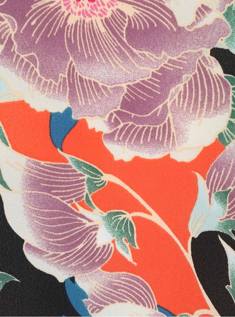 Čierno-oranžová asymetrická blúzka s kvetovaným vzorom Dorothy Perkins