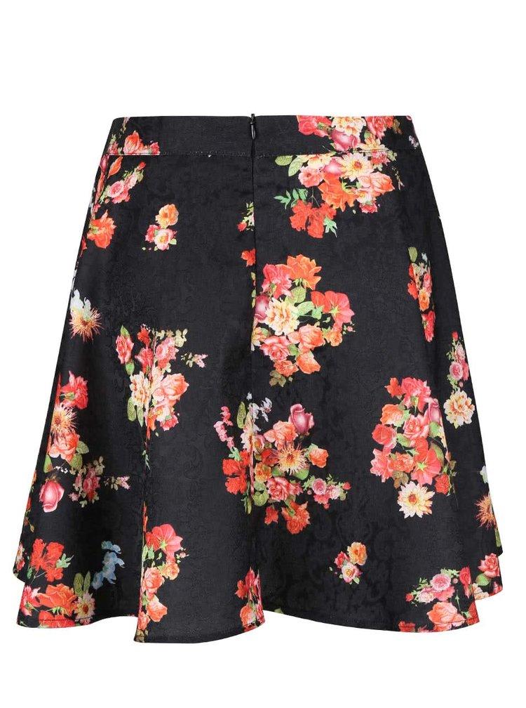 Černá sukně s barevnými květy Apricot