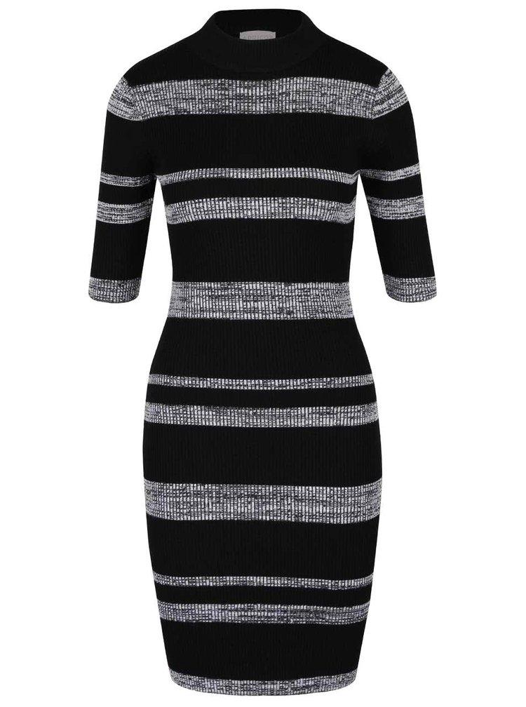 Šedo-černé strečové šaty s krátkým rukávem a pruhy Apricot