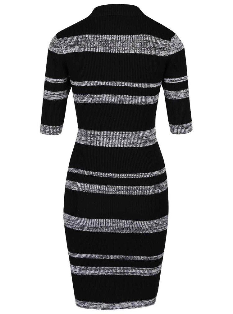 Sivo-čierne strečové šaty s krátkym rukávom a pruhmi Apricot