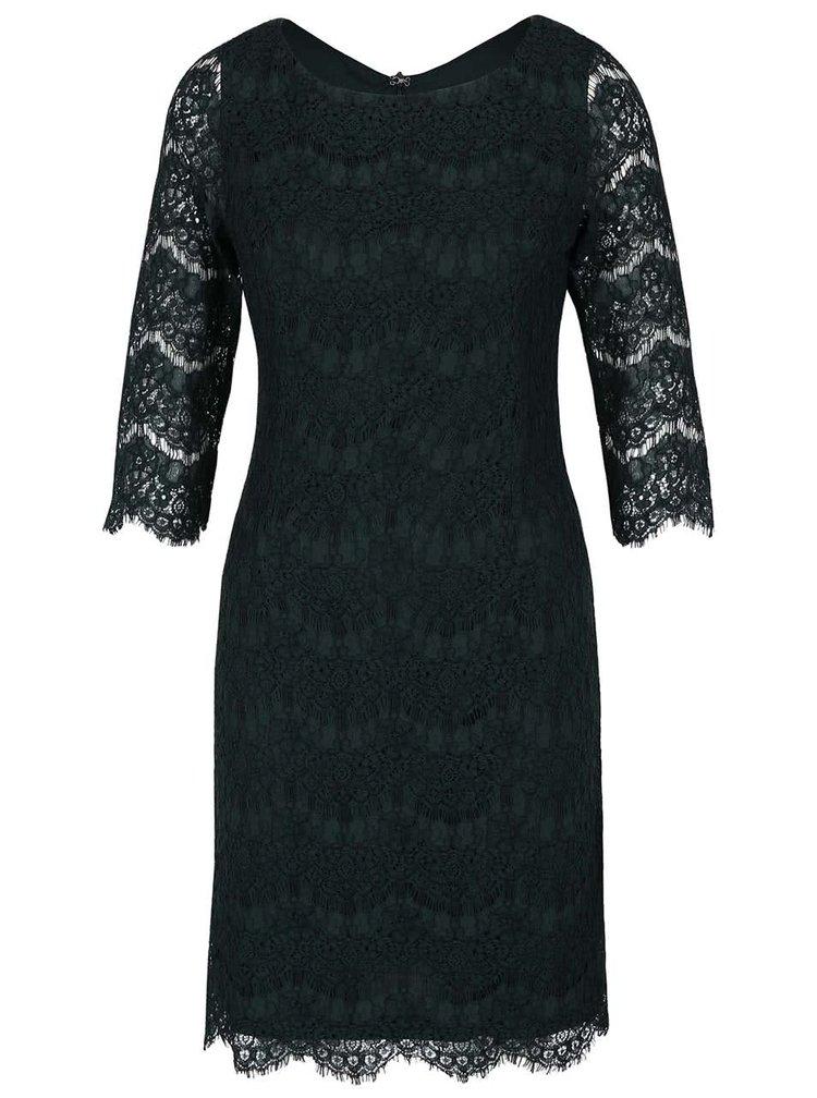 Tmavě zelené krajkové šaty s 3/4 rukávy Apricot