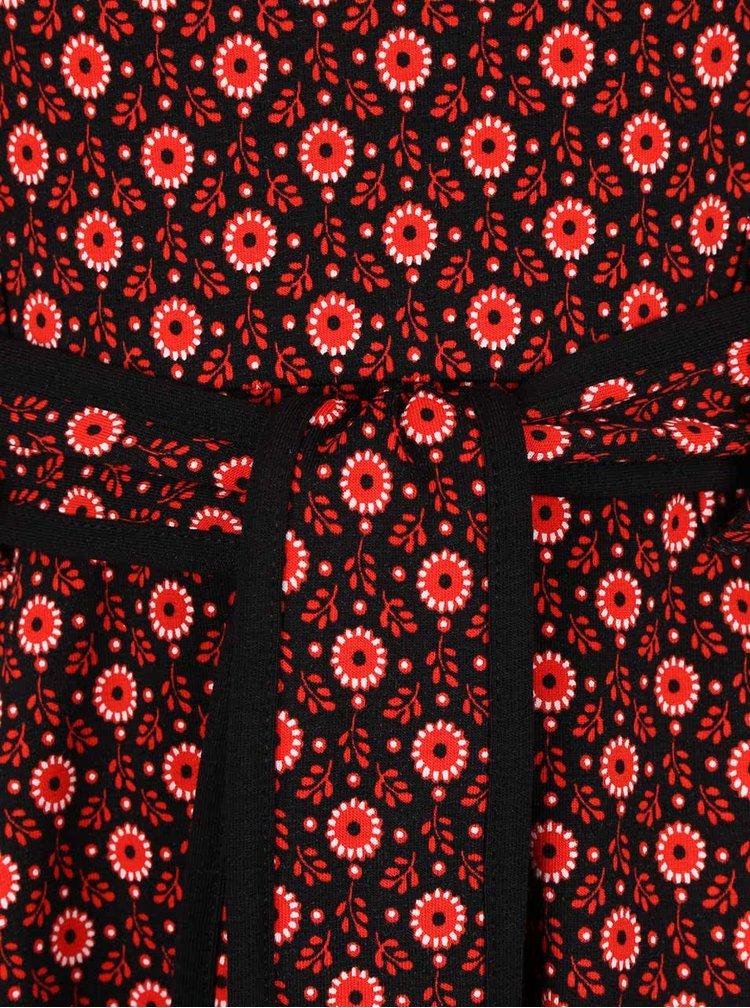 Černo-červené květované  šaty s páskem Dorothy Perkins