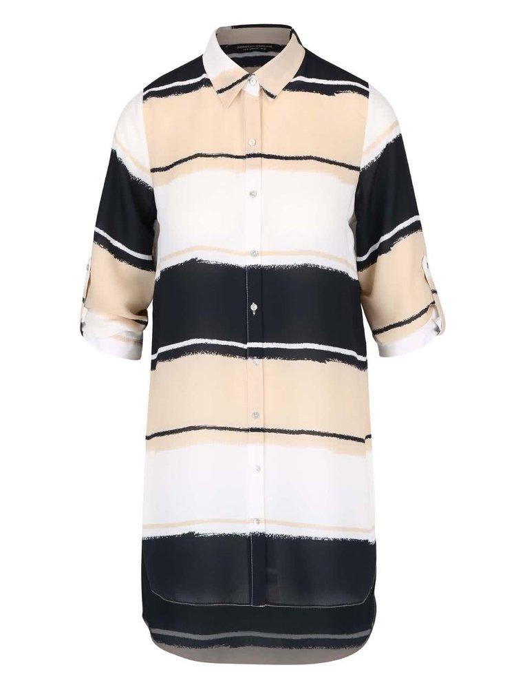 Krémová pruhovaná košile s 3/4 rukávy Dorothy Perkins