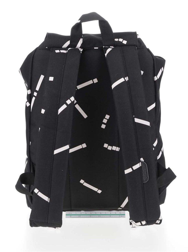 Čierny dámsky vzorovaný batoh Herschel Reid Mid-Volume