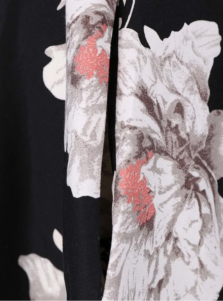 Čierne šaty so sivými kvetmi Apricot