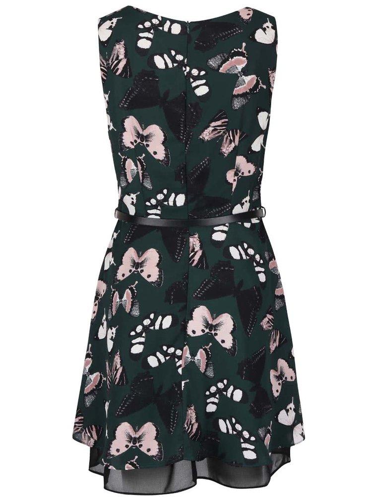 Tmavozelené šaty s potlačou motýľov Apricot