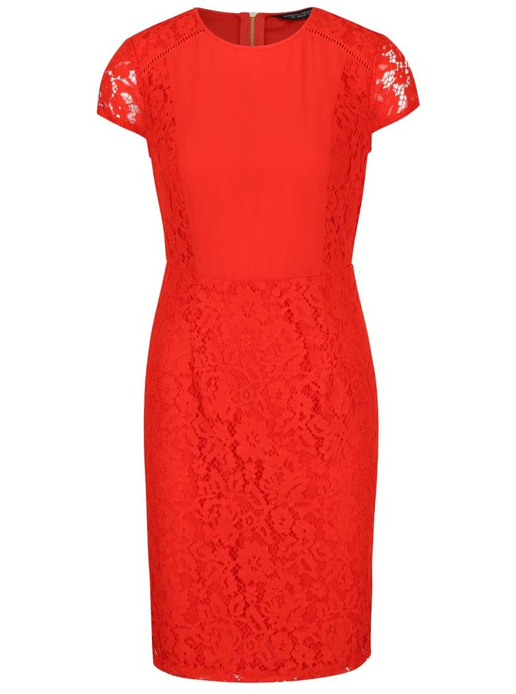 Červené krajkové šaty s krátkým rukávem Dorothy Perkins