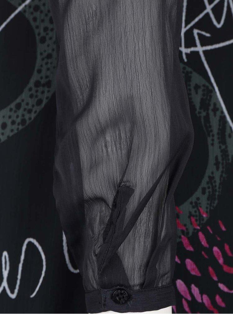 Tmavě šedé šaty s dlouhými průhlednými rukávy Desigual Despina