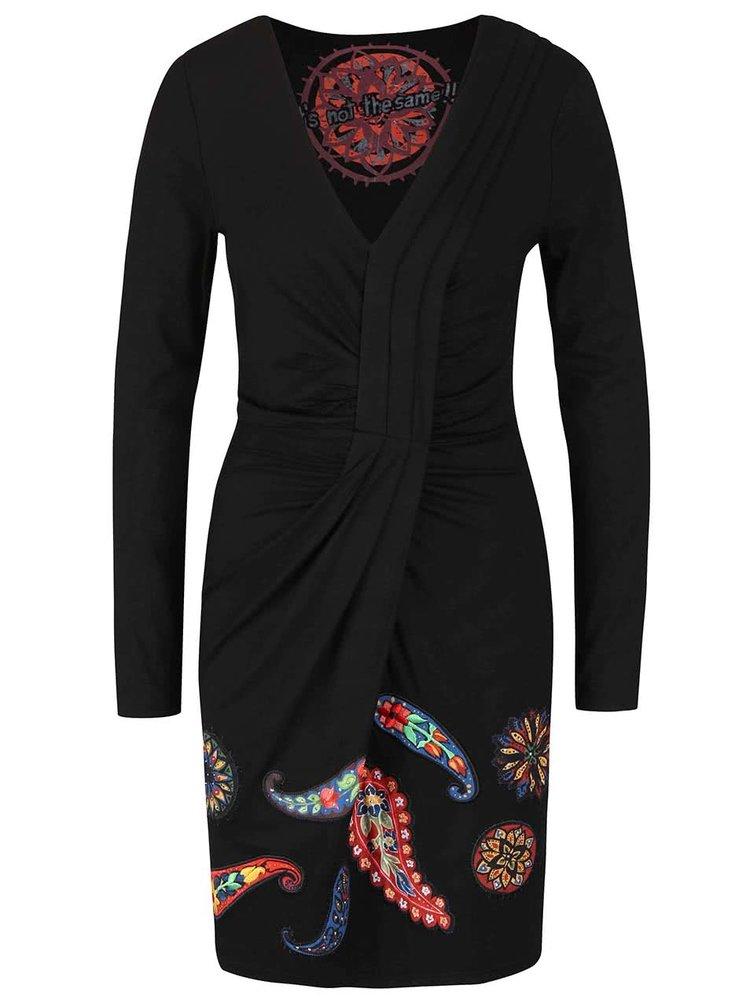 Černé šaty s dlouhým rukávem Desigual Paula