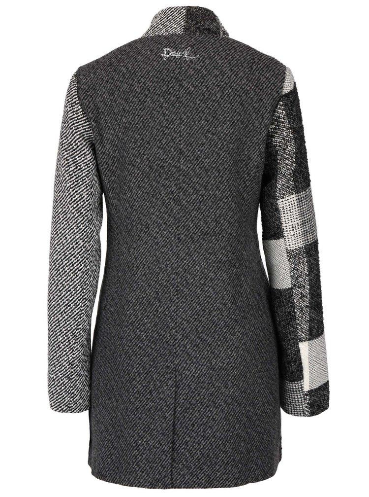 Krémovo-šedý kabát Desigual Ibiza