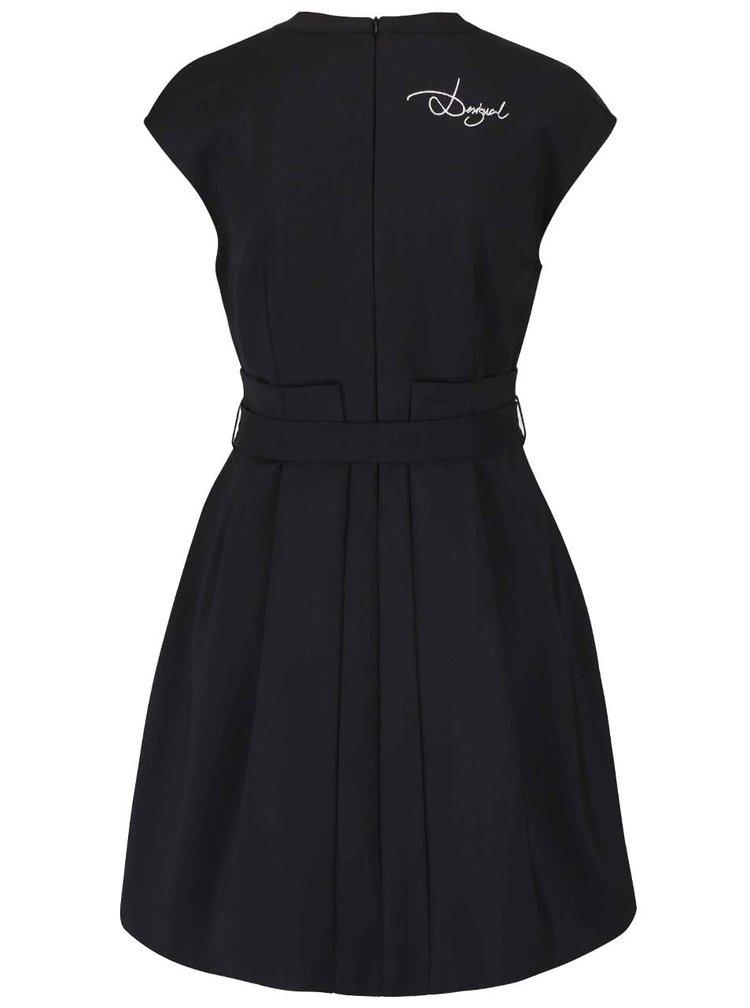 Čierne šaty s mašľou a flitrami Desigual Serena
