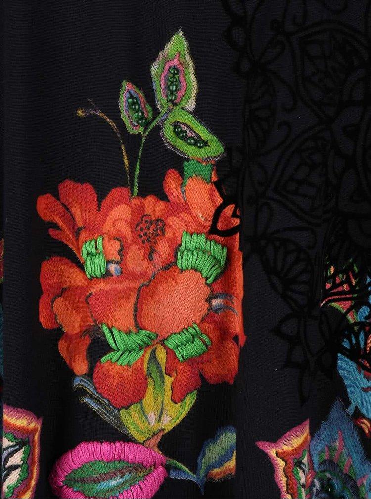Bluză neagră asimetrică Desigual Ramona cu model floral