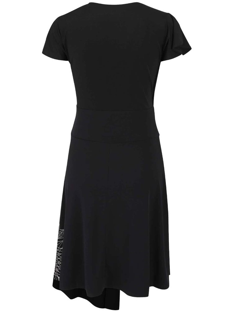 Černé šaty s překládaným výstřihem Desigual Luisa