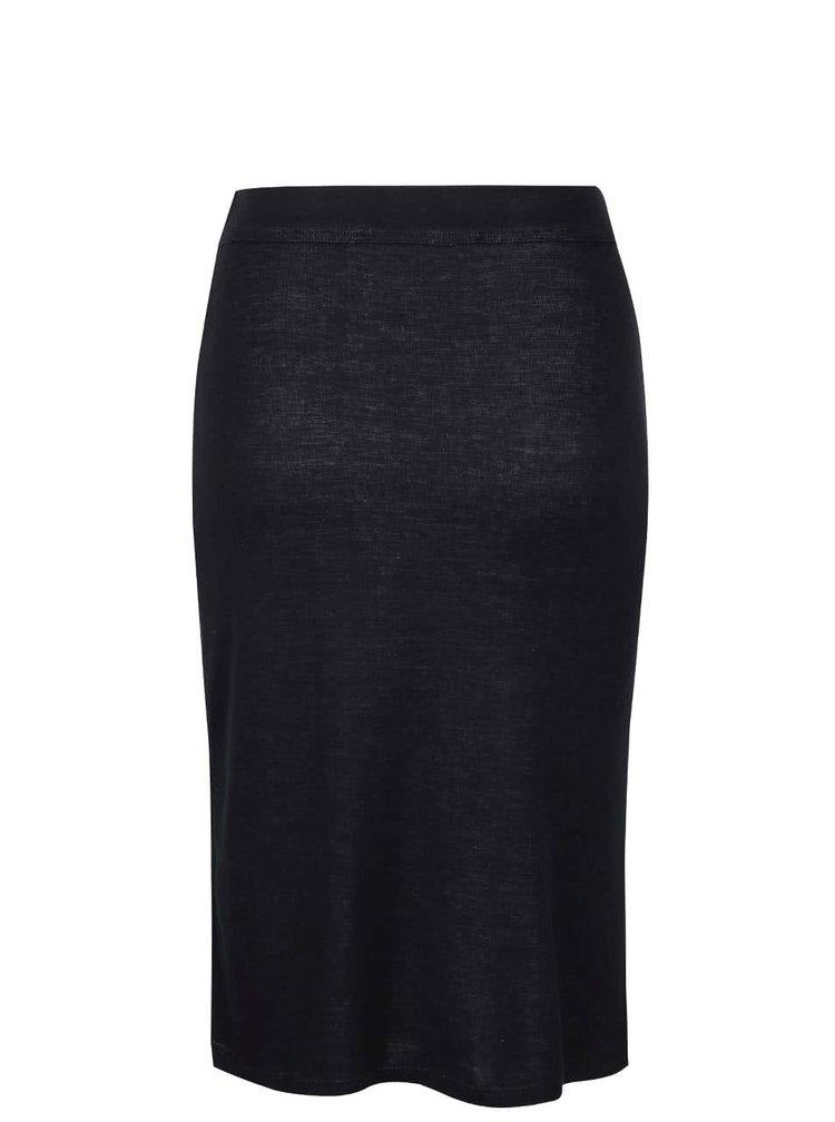 Černá sukně s šedými ornamenty a rozparkem Desigual Hielo