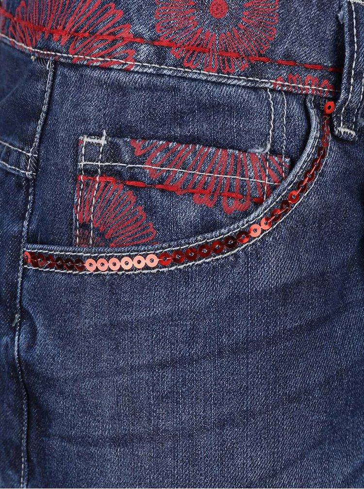 Tmavě modrá džínová sukně s asymetrickým zapínáním Desigual Noruega
