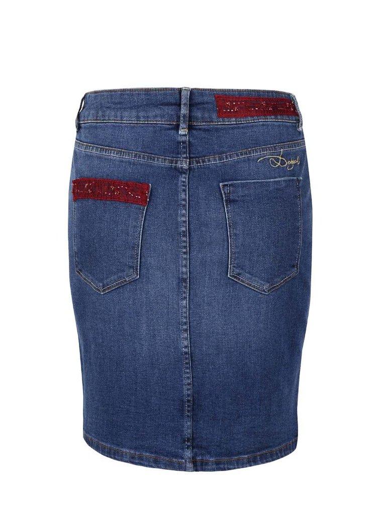 Modrá džínová sukně s potiskem ve zlaté barvě Desigual Finlandia