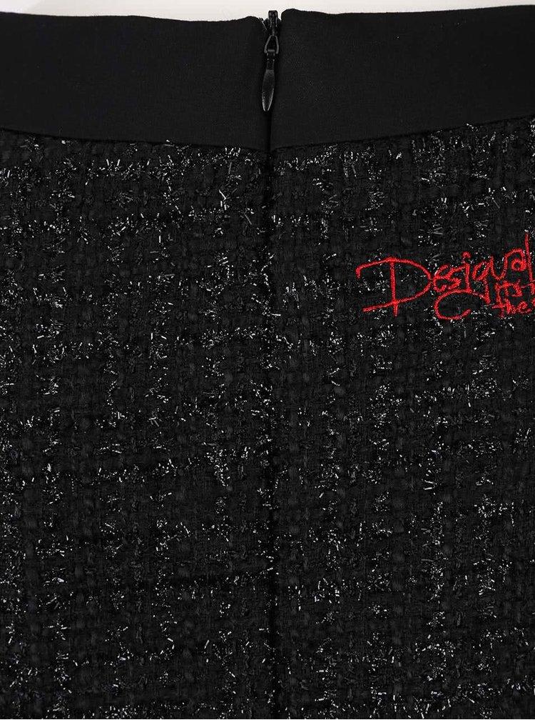 Černé šaty s červeným vyšíváním Desigual Scarlett